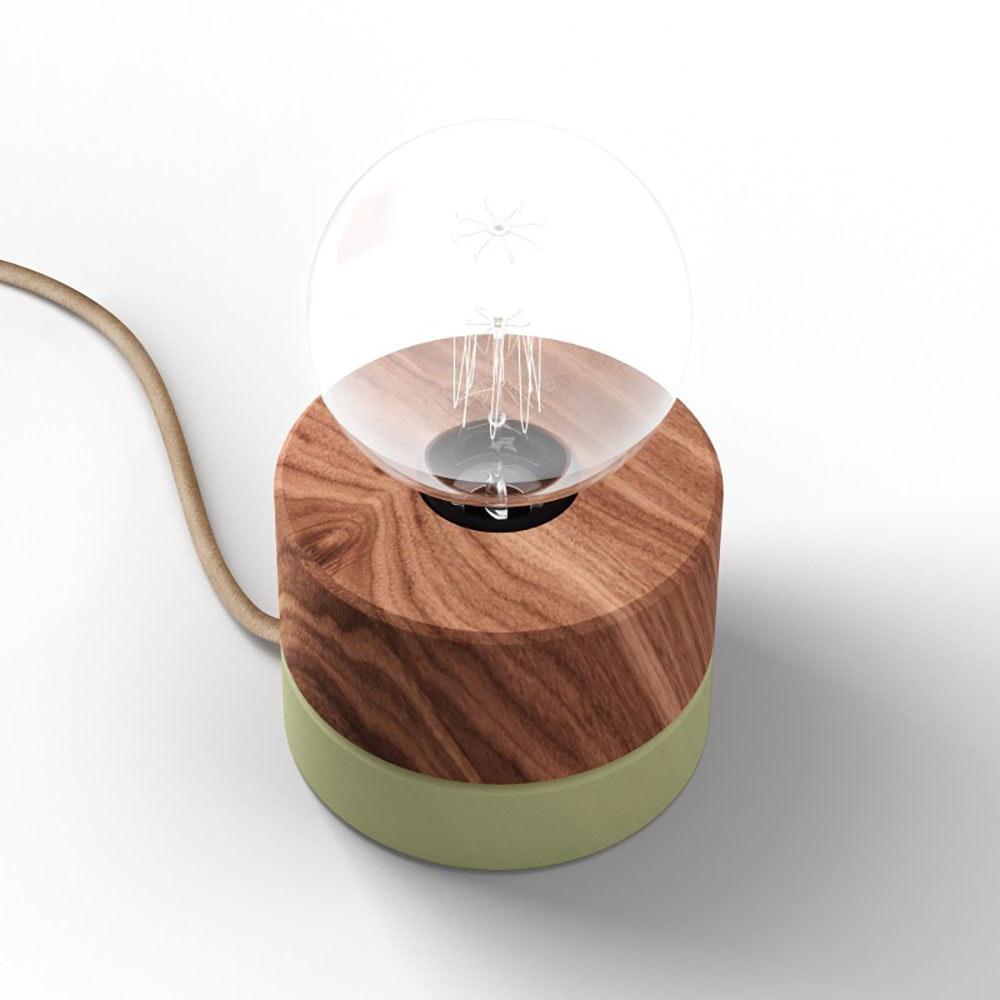 Holz Tischlampe Ø11cm in 3 Holzarten 9
