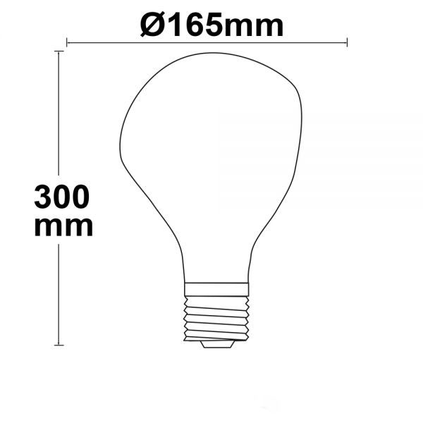 E27 LED Tropfen Smoky Ø16,5cm dimmbar 4W 2200K  2