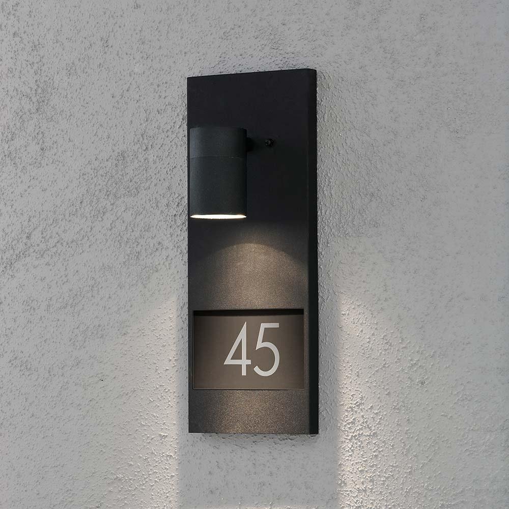 Modena Aussen-Wandleuchte mit Hausnummern Schwarz Schwarz, klares Glas, Reflektor