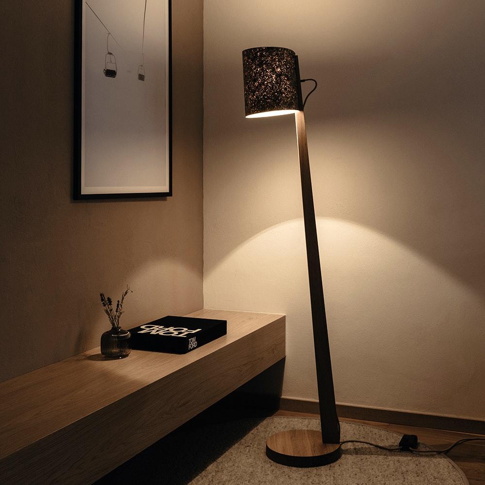 Holz Stehlampe mit Schirm Zylindrisch 167cm thumbnail 5