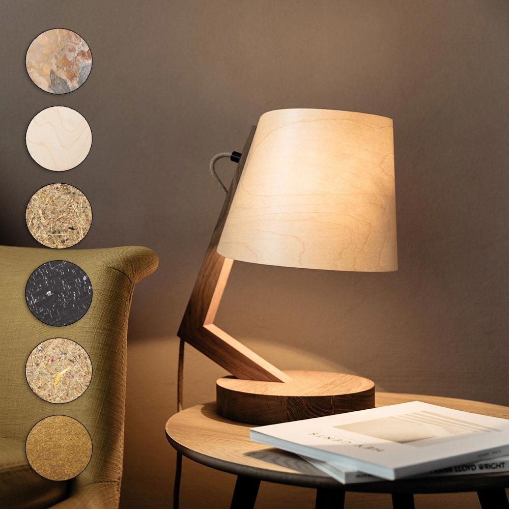 Holz Tischlampe mit Schirm Zylindrisch 1