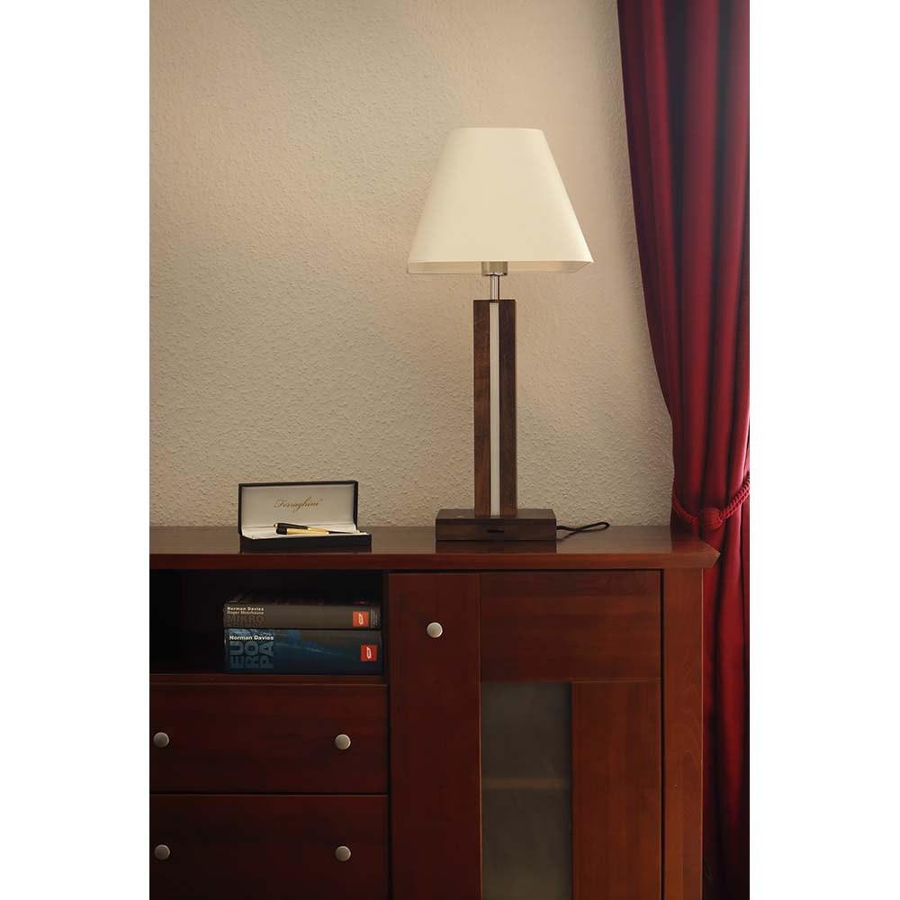 LED Tischlampe Quad 980lm Touch-Dimmer Nussbaum, Weiß, Schwarz 3