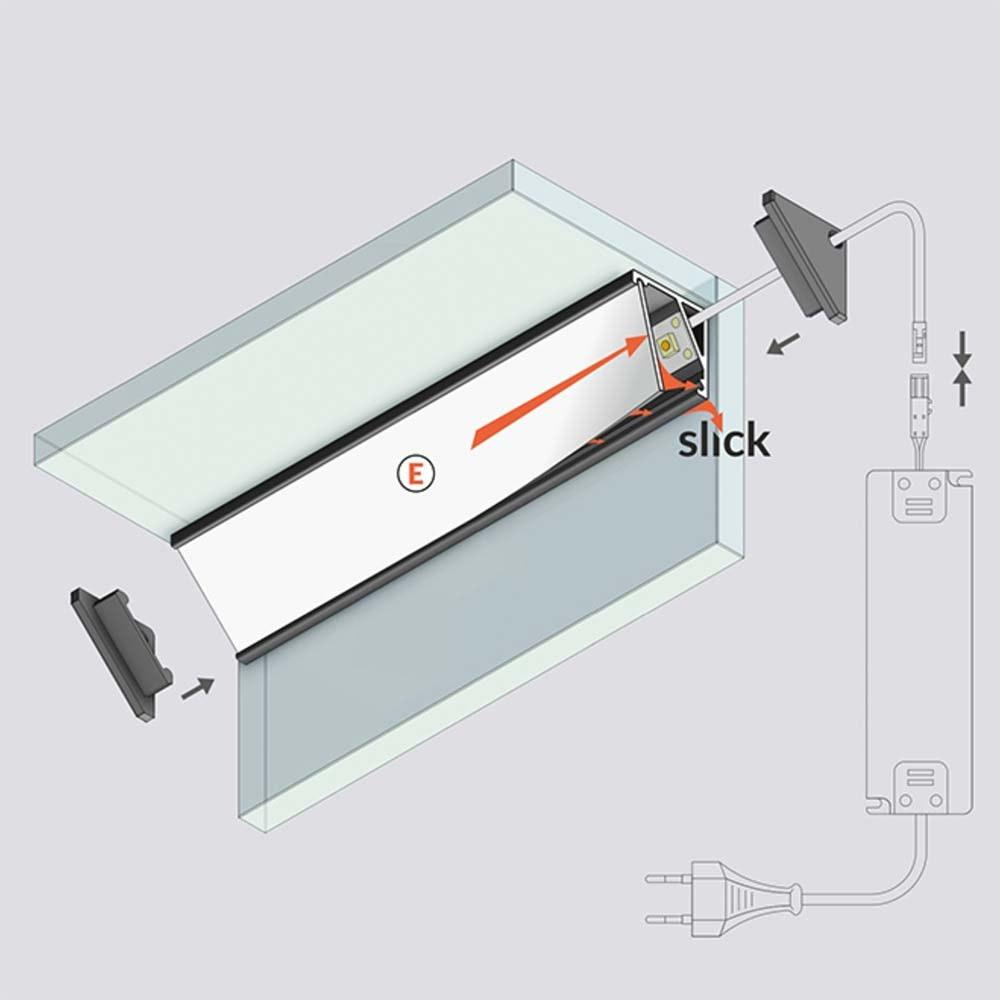 Aufbau-Eckprofil 30° & 60° 200cm Weiß ohne Abdeckung für LED-Strips 2