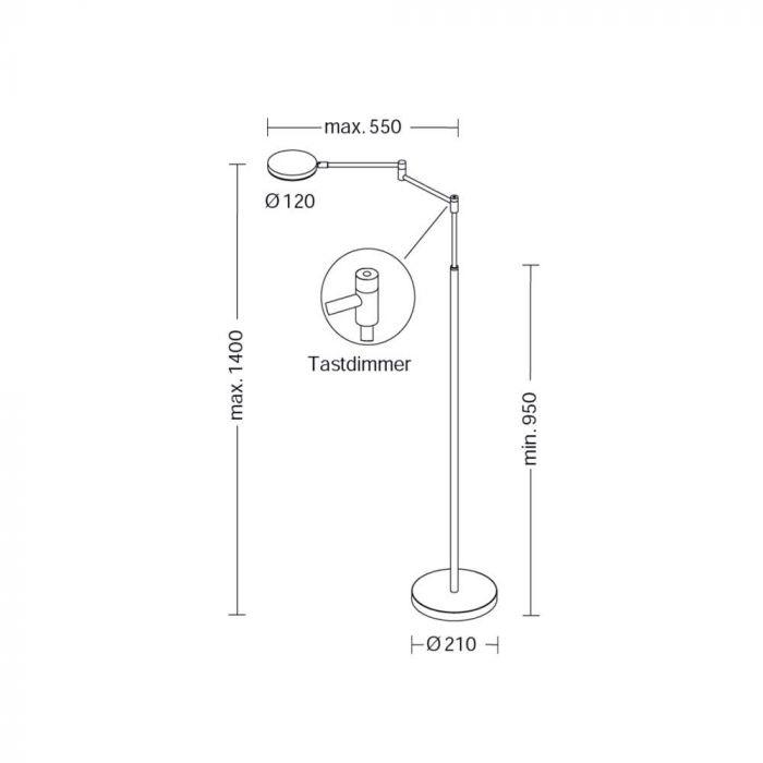 Holtkötter LED-Stehlampe Plano B mit Tastdimmer Schwarz thumbnail 6