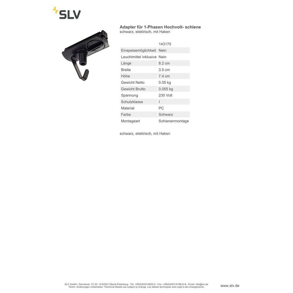 SLV Adapter für 1-Phasen Hochvoltschiene schwarz elektrisch mit Haken 2