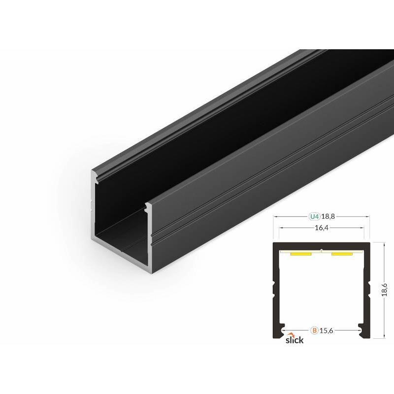 Aufbauprofil 19x19mm 200cm Schwarz ohne Abdeckung für LED-Strips 1