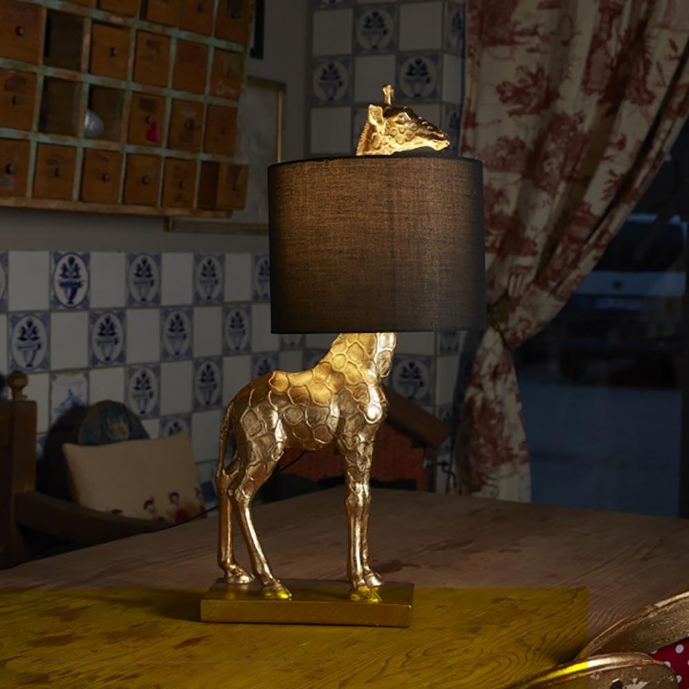 Tischleuchte Giraffe mit Stoffschirm 1