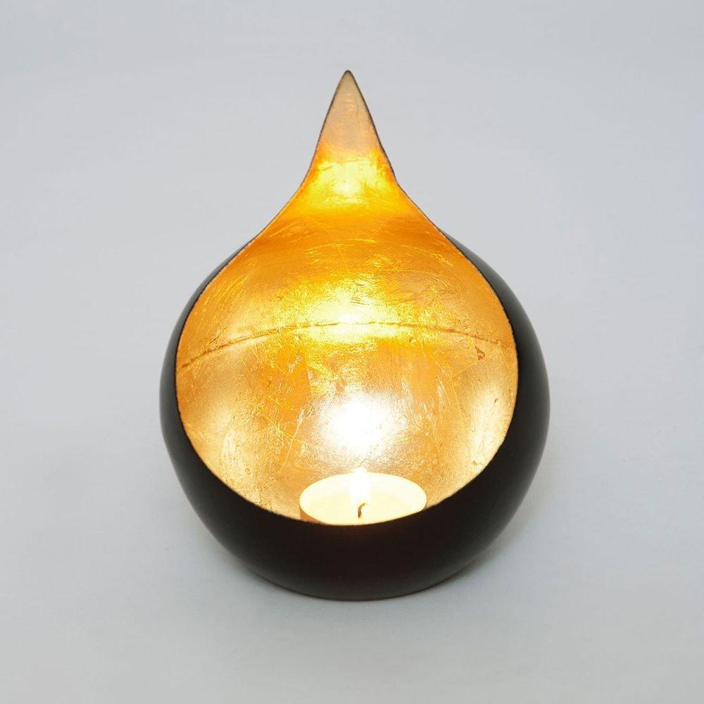 Windlicht Canestro Metall Schwarz-Gold