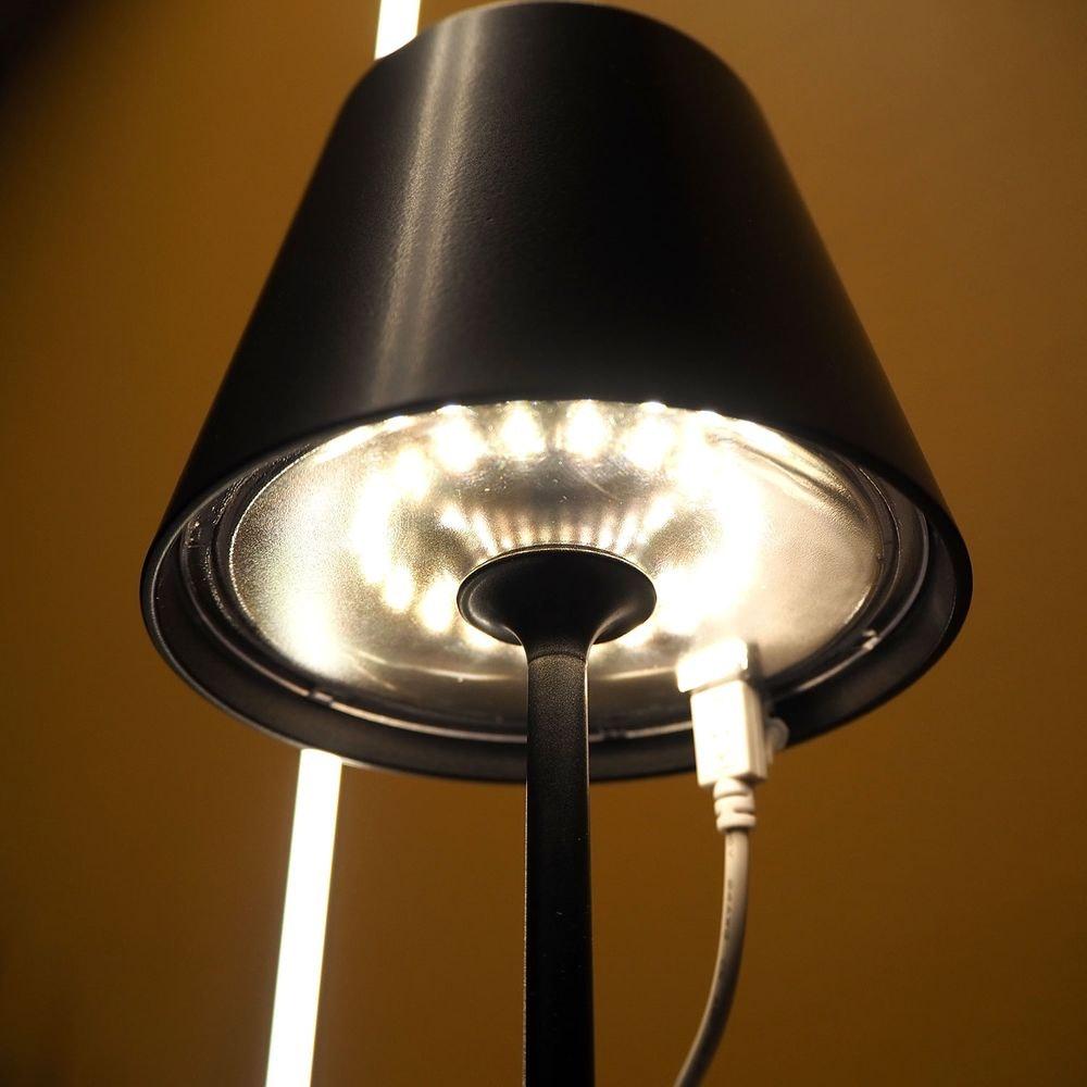 LED Akku Außen-Tischlampe Qutarg IP54 Dimmbar Schwarz thumbnail 6