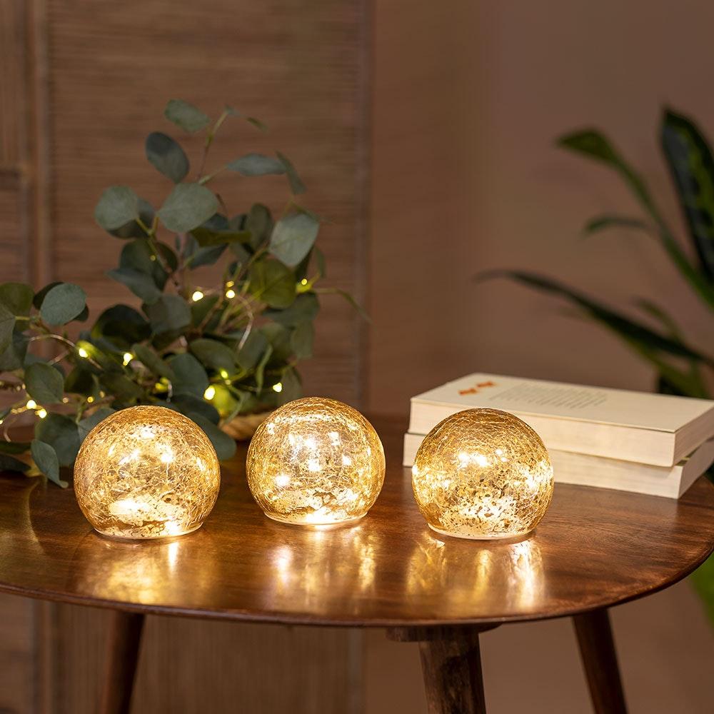 3er-Set LED Weihnachtskugeln Lua Ø10cm