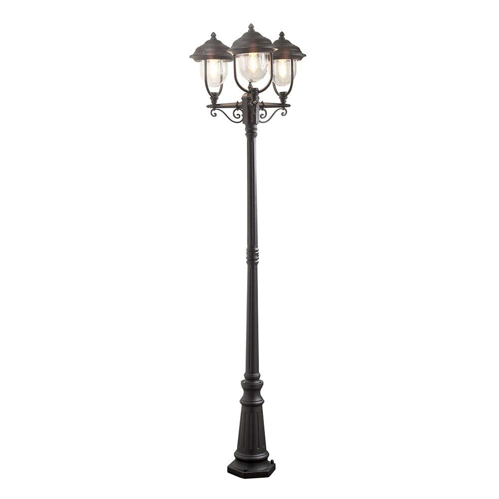 Parma Standleuchte mit 3 Leuchtenköpfen Schwarz, klares Acrylglas