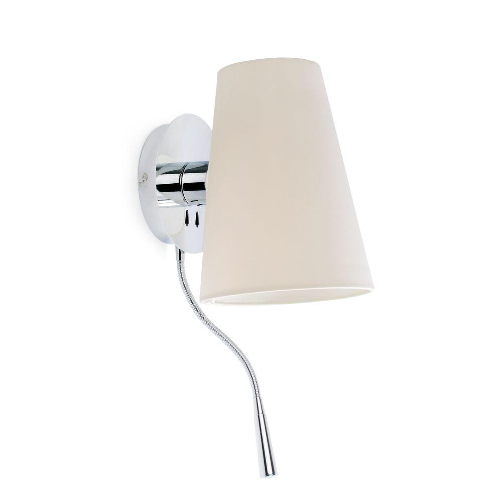 Wandleuchte LUPE mit LED-Leselicht Chrom, Weiß 1