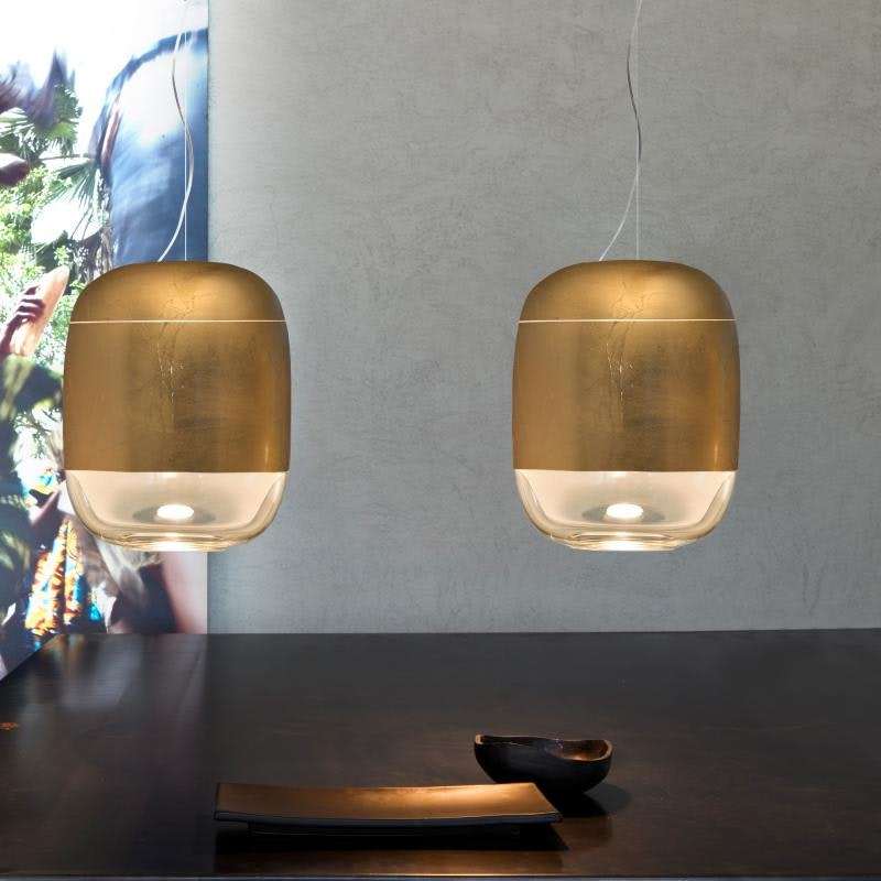 Prandina Hängelampe modern Gong S3 Blattgold 1