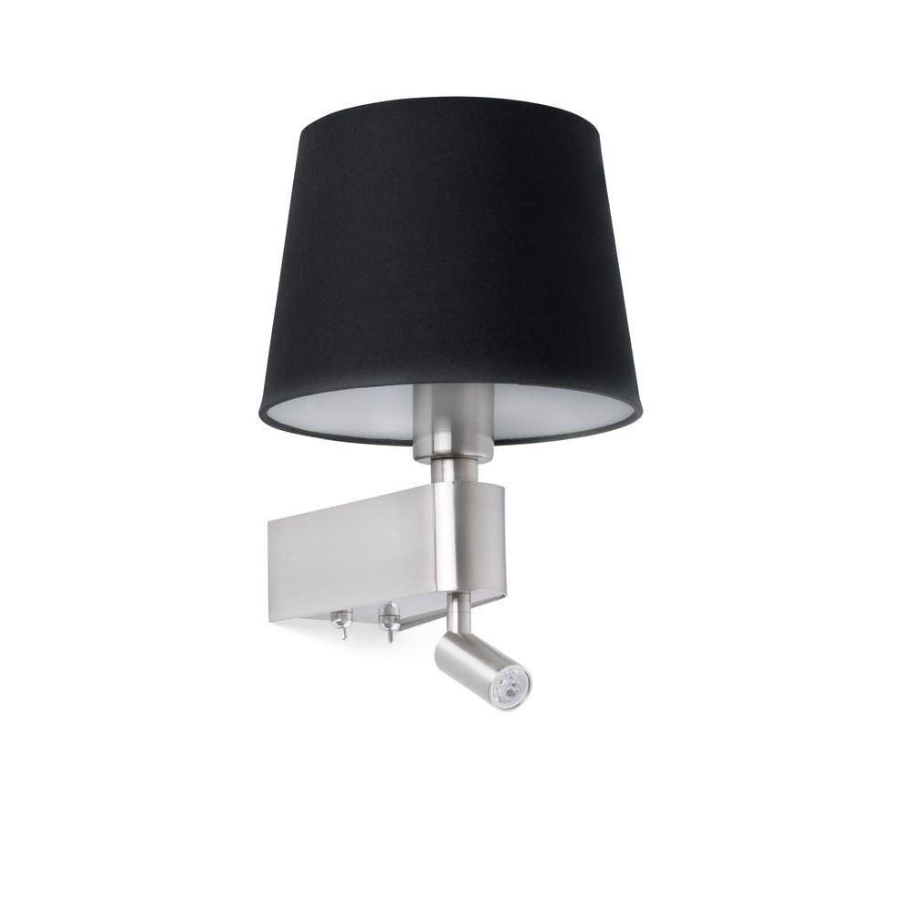 Wandleuchte ROOM mit LED-Leselicht 2700K Nickel, Schwarz 1