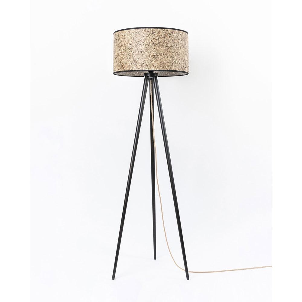Holz Dreibein-Stehlampe mit Heuschirm