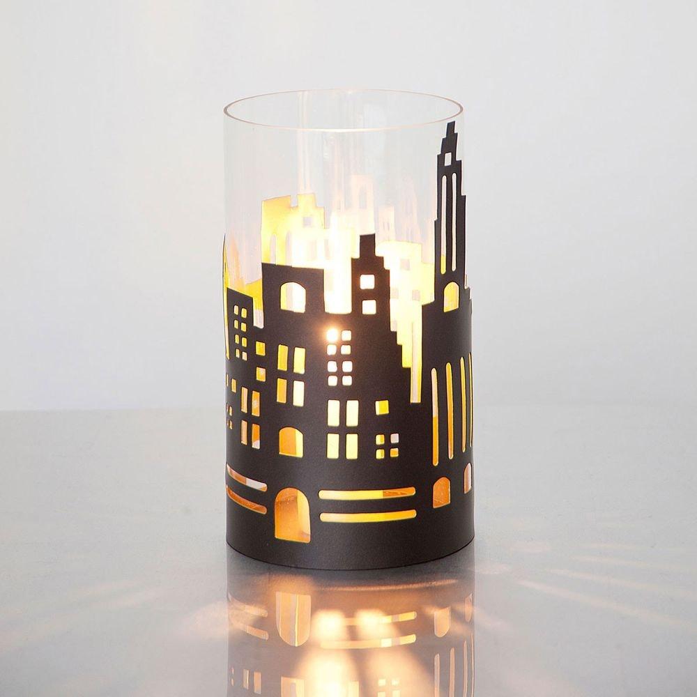 Windlicht Skyline Mittel Metall-Glas Braun-Gold 1