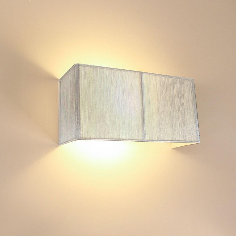 s.LUCE Twine Stoff-Wandleuchte 30cm Silberfarben 2