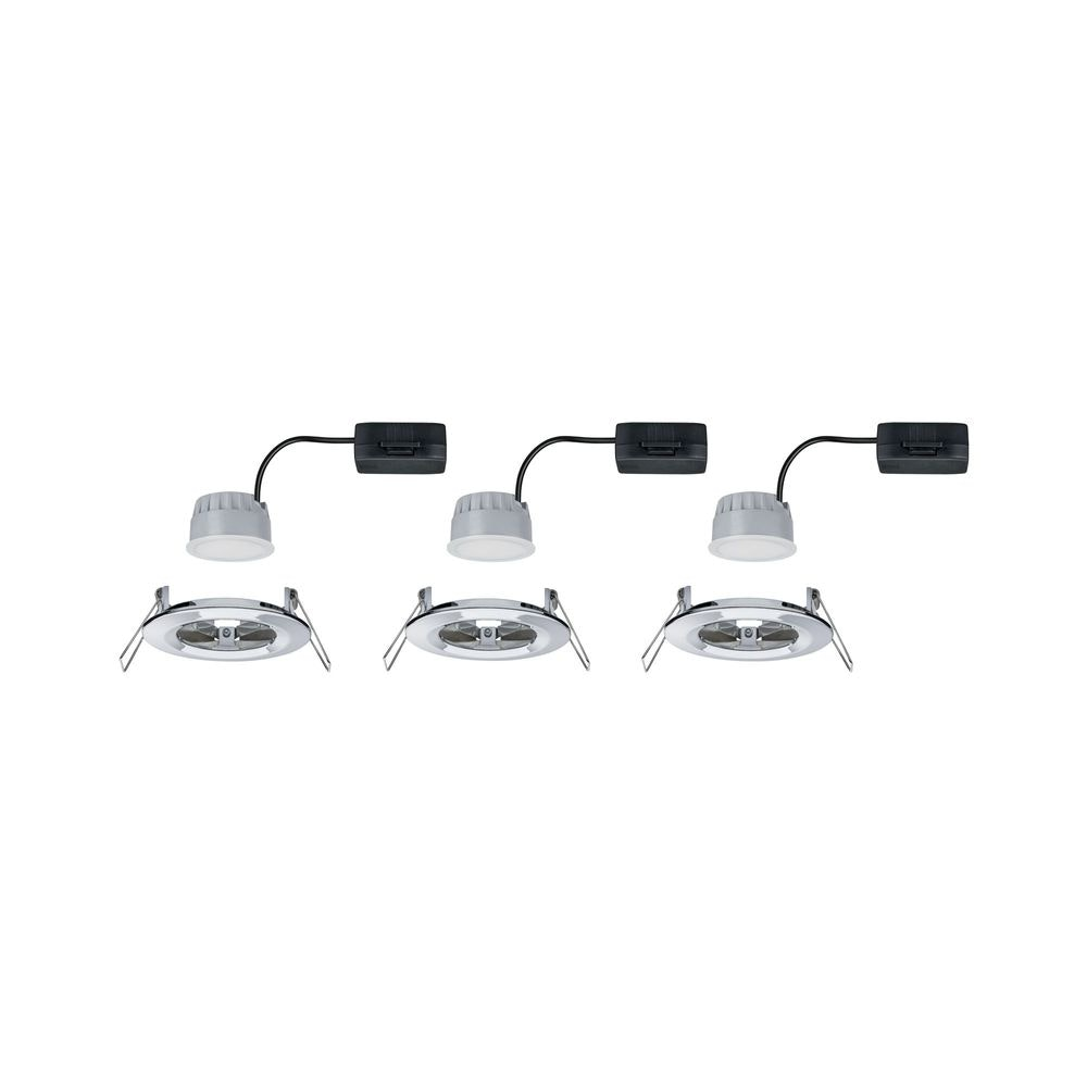 3er-Set Einbauleuchte LED Nova rund 3-Stufen Dimmbar Chrom 3