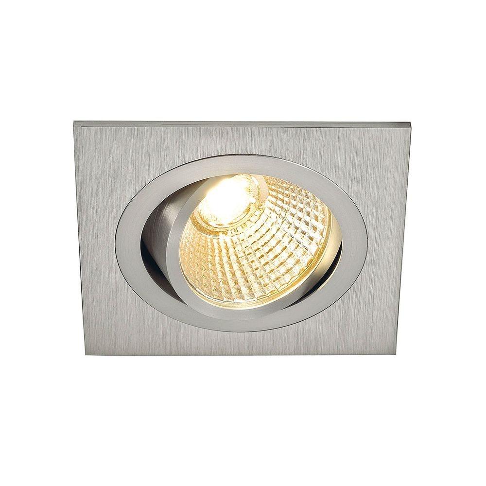 SLV New Tria LED DL Square Set Downlight Alu-Gebürstet, 6W, 38° 2700K inkl. Treiber Clipfed. 1
