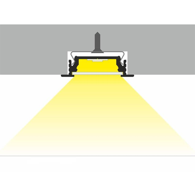 Einbauprofil flach 200cm Schwarz ohne Abdeckung für LED-Strips 6