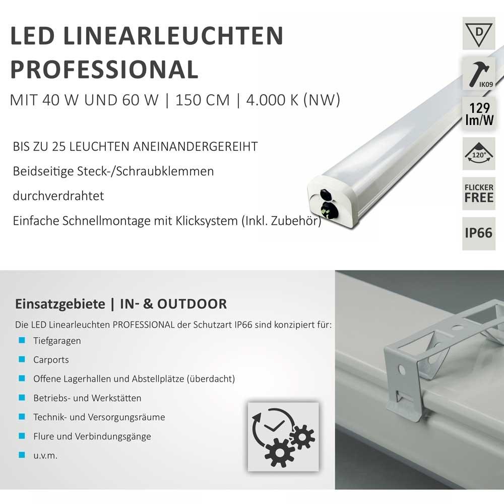 LED Profi Linienleuchte 150cm Wannenleuchte 5100lm IP66 neutralweiß 1
