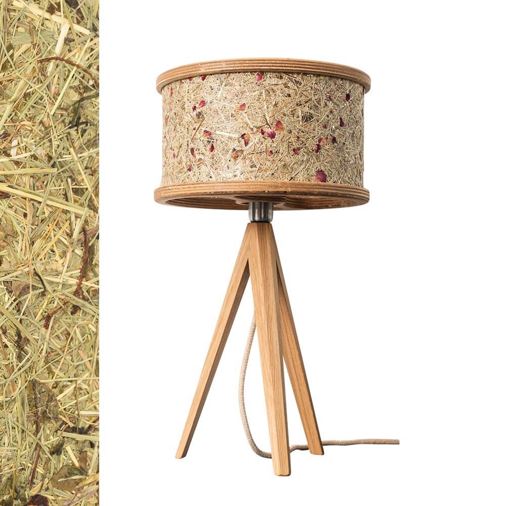 Holz Tischlampe Ø 25cm mit Heuschirm 2