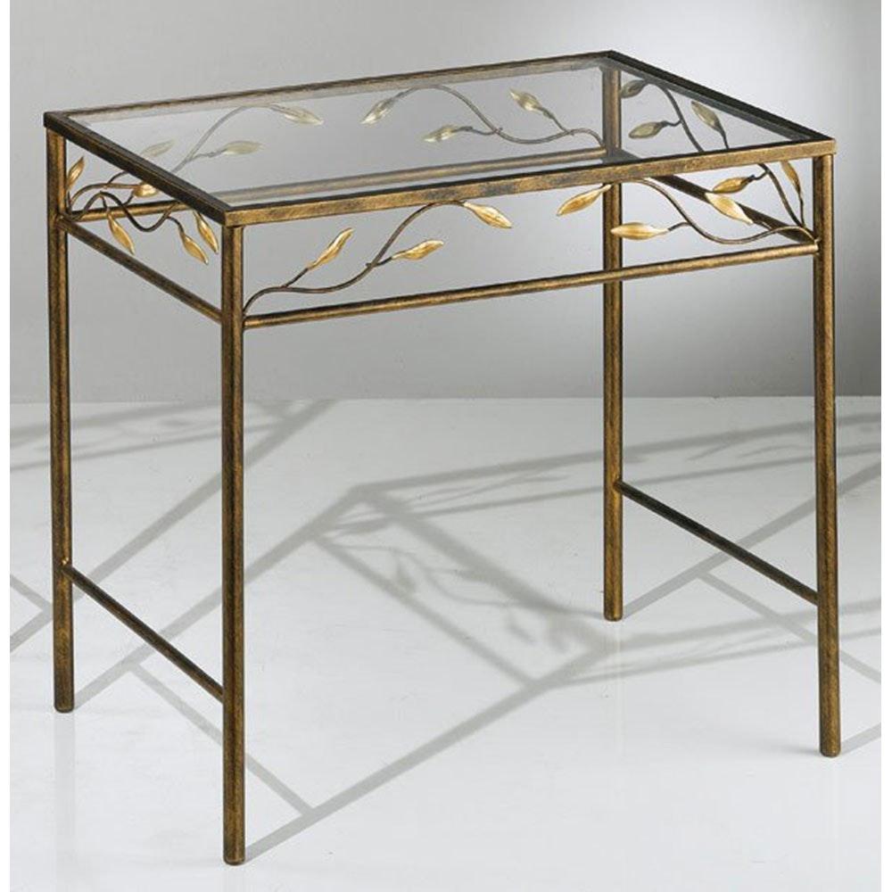 Tisch rechteckig rost-antik Gold patiniert 50cm