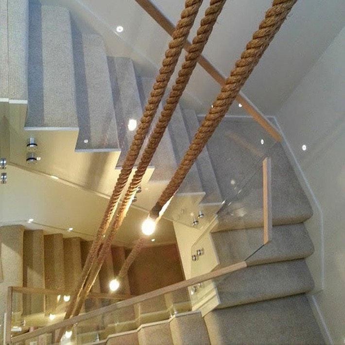s.LUCE Rope 3flg. Seil-Hängelampe Braun + Modular Baldachin Ø 40cm Schwarz 5