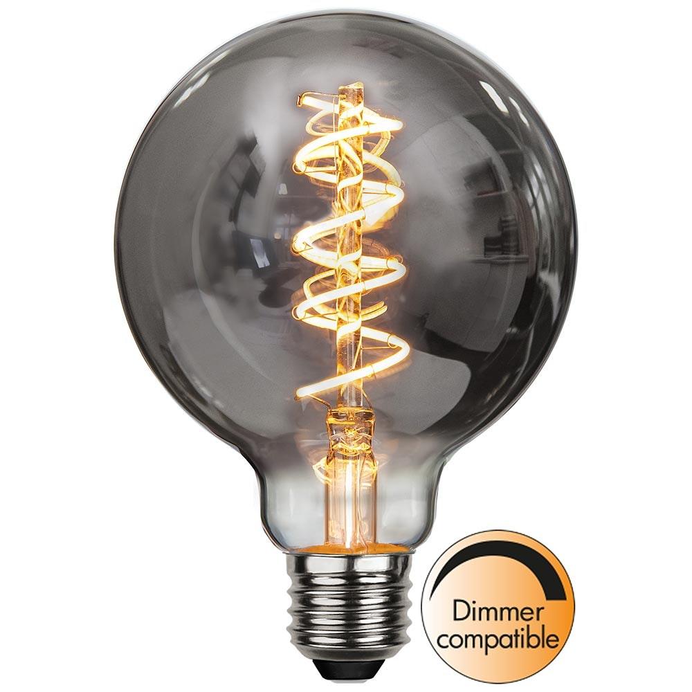 E27 LED Heavy Smoke 9,5cm Globe Dimmbar 90lm Extra Warmweiß 1