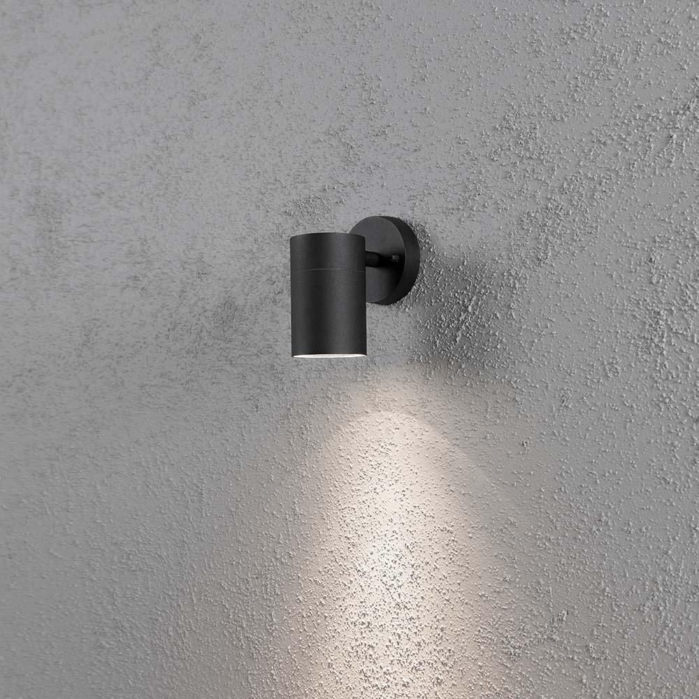 Modena Aussen-Wandleuchte Schwarz, klares Glas, Reflektor 1