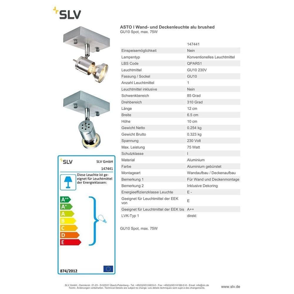 SLV Asto I Wand- und Deckenleuchte alu brushed GU10 Spot max. 75W 2