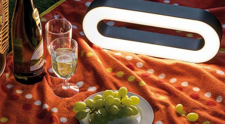 Leuchtende Geschenkidee Tischleuchte Picknick Outdoor Akku