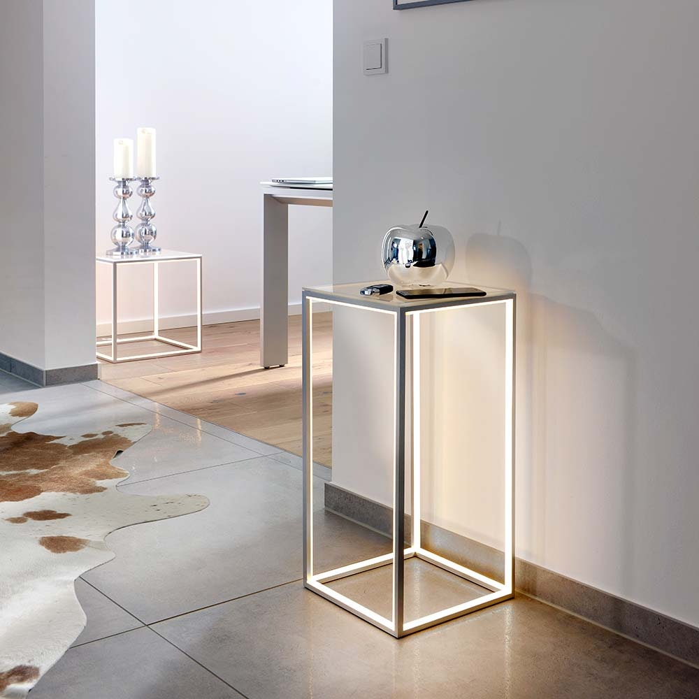 Beleuchteter LED Glastisch Delux 60 x 40cm Alu-matt 2