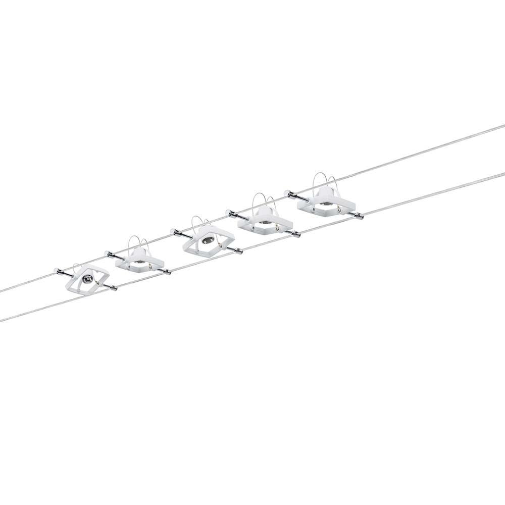 Seilsystem Mac II Weiß mit 5 Spots GU5,3 1