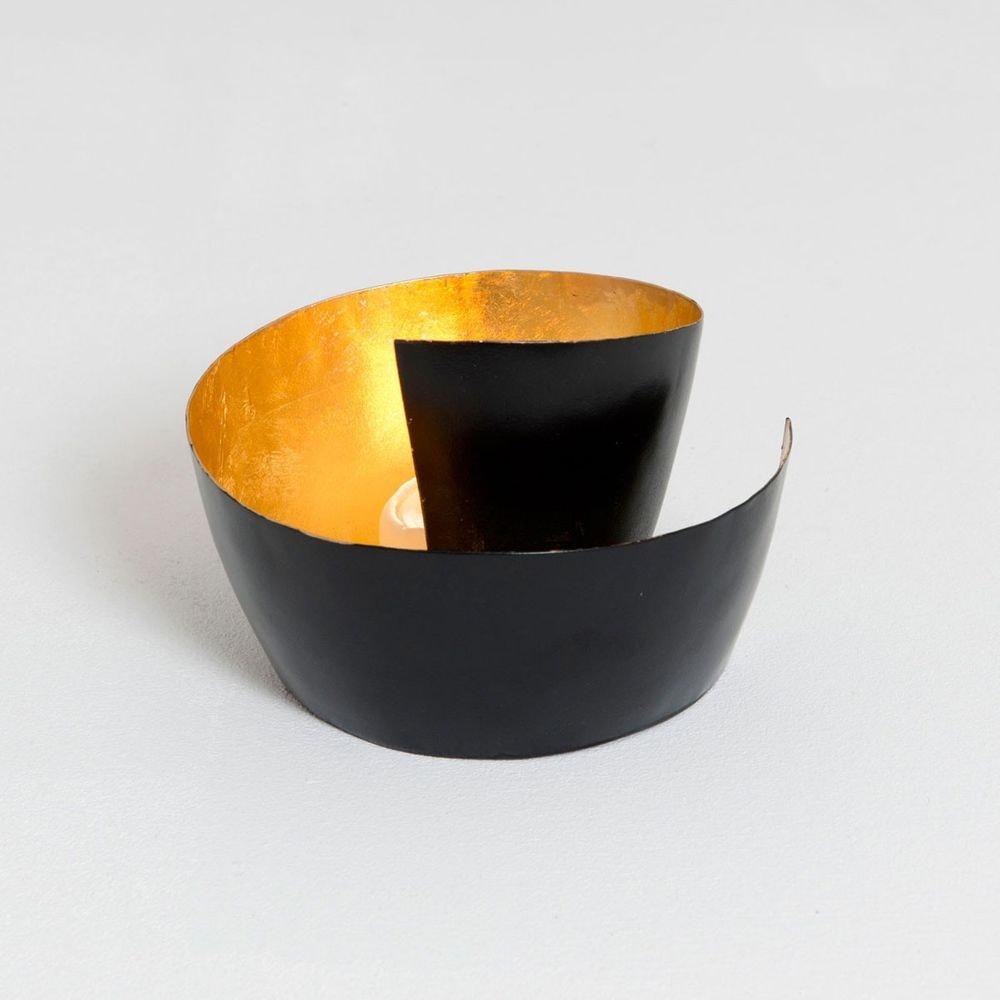 Windlicht 1-flg. Zucchero Metall Schwarz-Gold