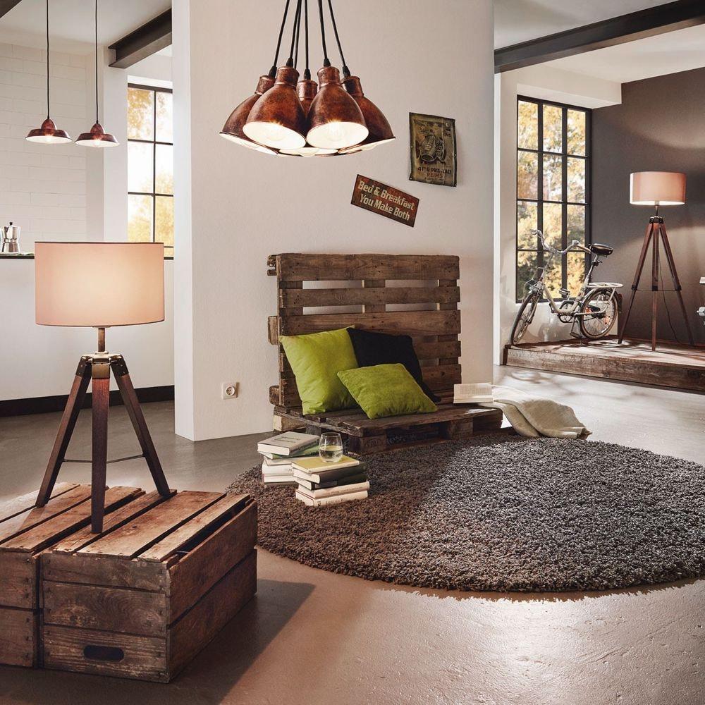 Dreibein Holz Stehleuchte Dayton 150cm Nussfarben, Taupe 3