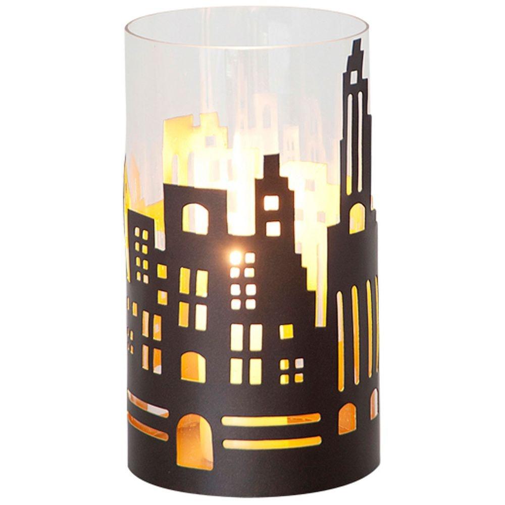 Windlicht Skyline Mittel Metall-Glas Braun-Gold 2