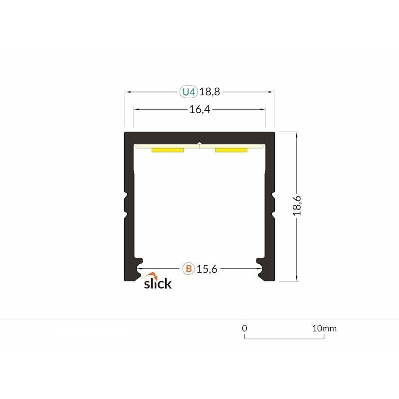 Aufbauprofil 19x19mm 200cm Schwarz ohne Abdeckung für LED-Strips 2
