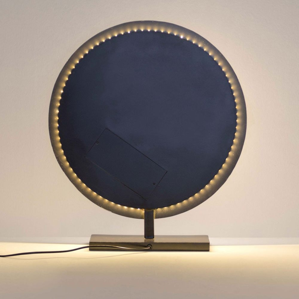 Tischleuchte Luna Rund Eisen Braun-Schwarz-Gold 2