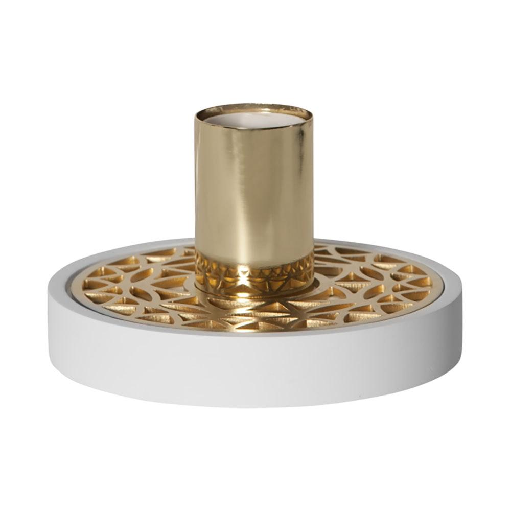 Tischlampe für E27 Leuchtmittel in Weiß und Goldfarben 1