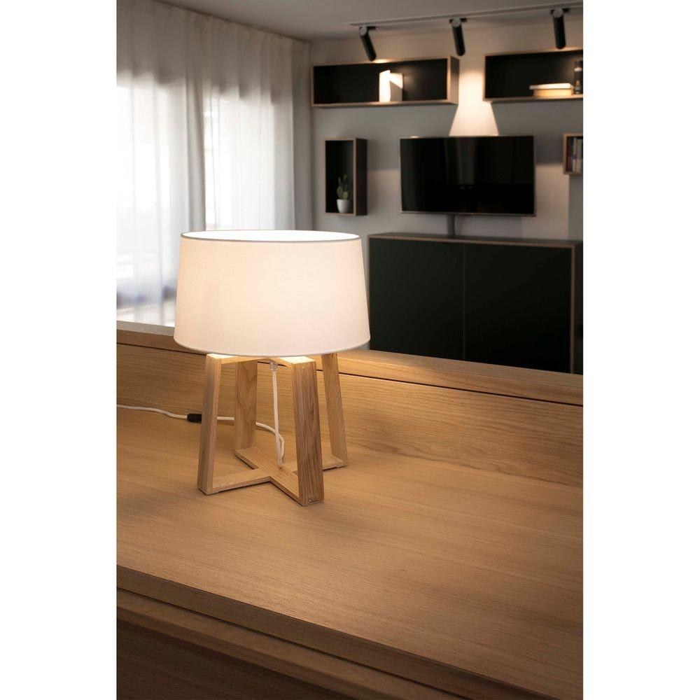 Holz Tischlampe BLISS IP20 Braun, Weiß thumbnail 3