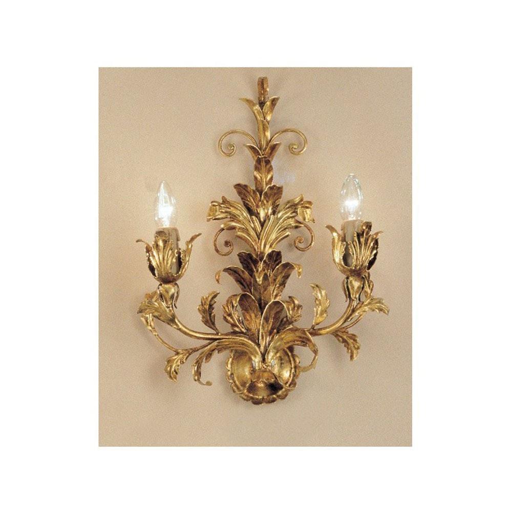 Palma Wandleuchte 2-flammig Blattgold-Auflage antik 45cm