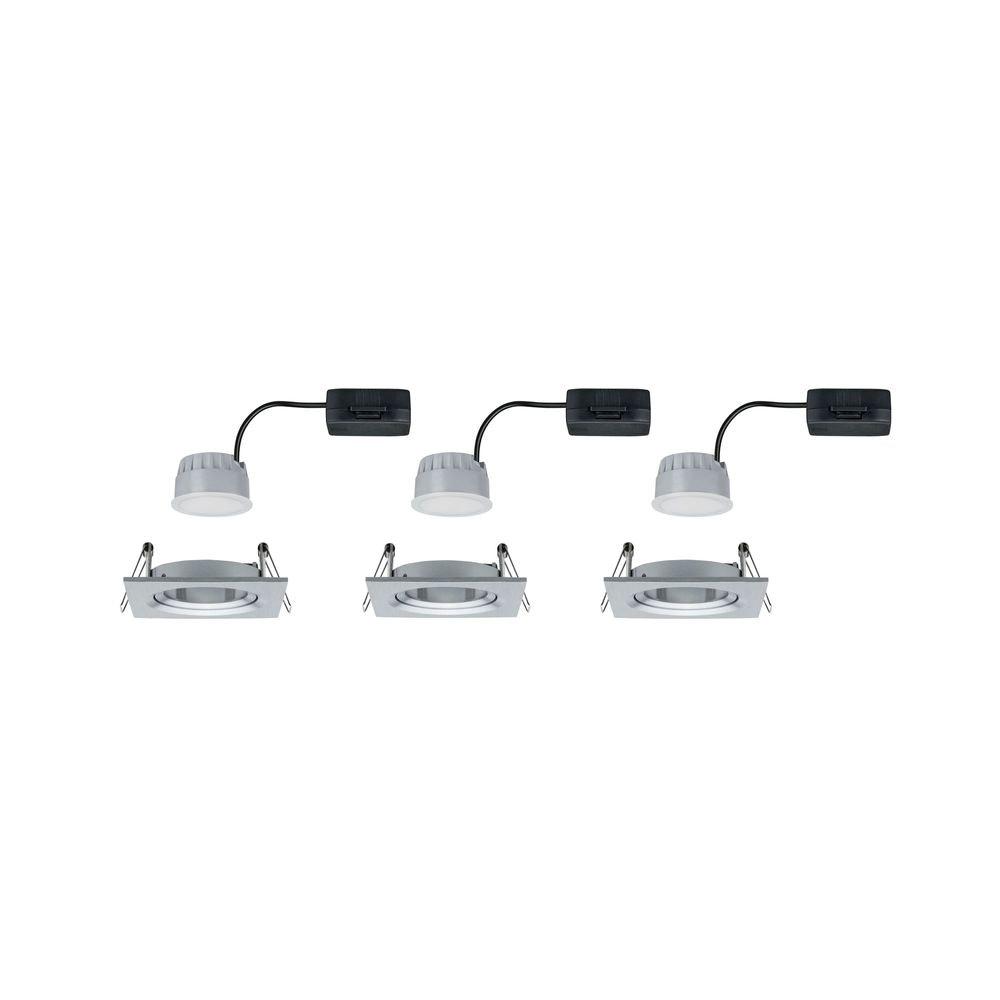 3er-Set Einbauleuchte LED Nova eckig 3-Stufen Dimmbar Alu-Gedreht 2