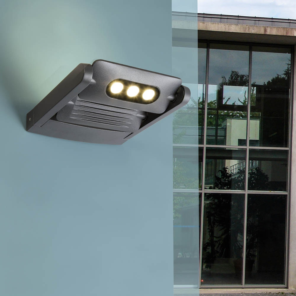 Mini LED Spot 2-flg. verstellbare Außenwandleuchte IP65 Anthrazit 1