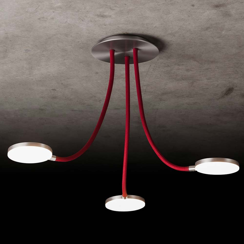 LED-Deckenleuchte Flex D3 3390lm Alu-matt, Rot