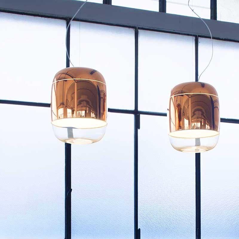 Prandina Hängelampe Glas Gong S5 Kupfer 1