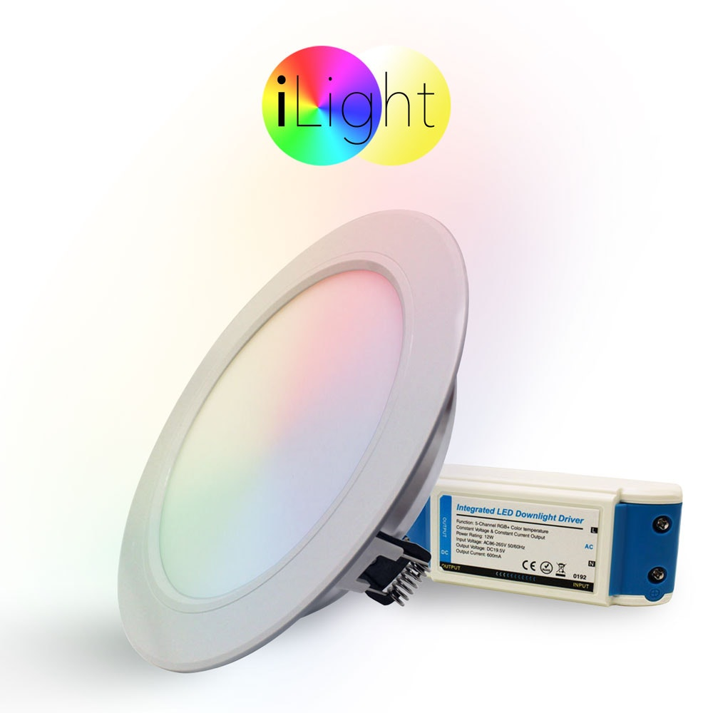 s.LUCE LED-Einbaupanel iLight Ø18cm 1056lm RGB + CCT