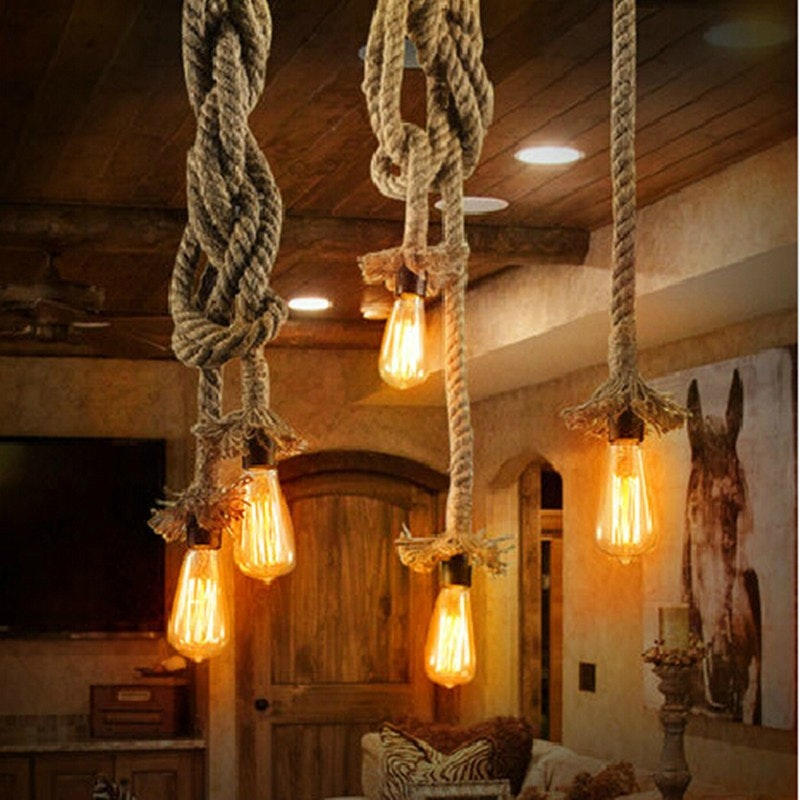 s.LUCE Rope Seil-Hängeleuchte mit Fassung Ø 5cm Braun 9