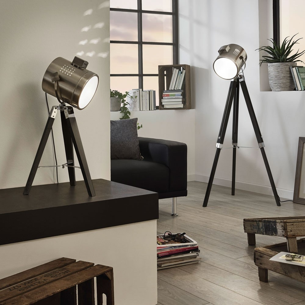 Gazer Dreibein-Stehleuchte Holz & Chrom Schwarz 3