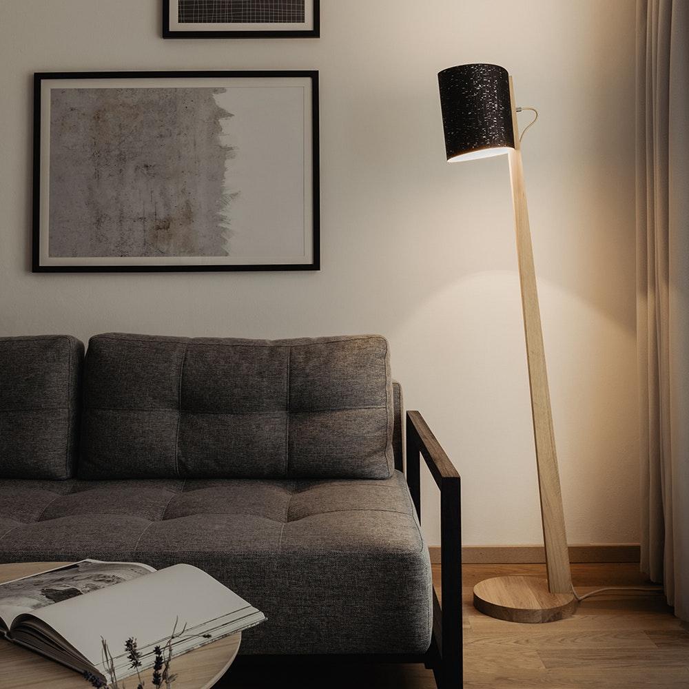 Holz Stehlampe mit Schirm Zylindrisch 167cm thumbnail 6